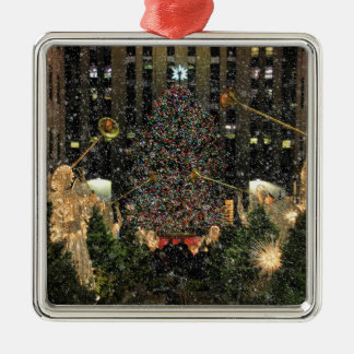 Rockefeller Center Christmas Tree, Angels, Snow Silver-Colored Square Decoration