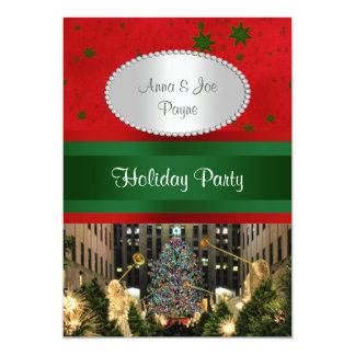 Rockefeller Center Christmas Tree, Red Grn Stars P 13 Cm X 18 Cm Invitation Card