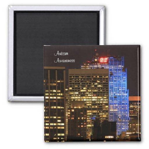 Rockefeller Center lit up blue for Autism 2012 Magnet