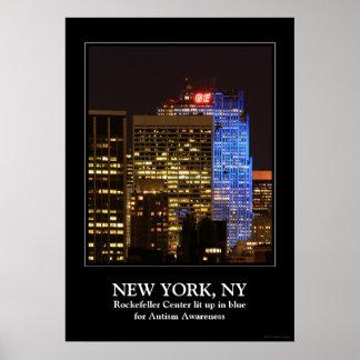 Rockefeller Center lit up blue for Autism 2012 Posters