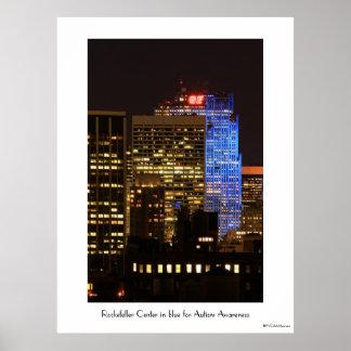 Rockefeller Center lit up blue for Autism 2012 Poster