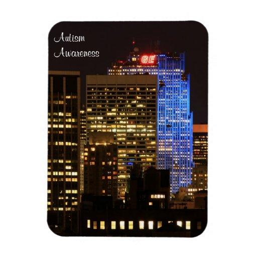 Rockefeller Center lit up blue for Autism 2012 Rectangle Magnet