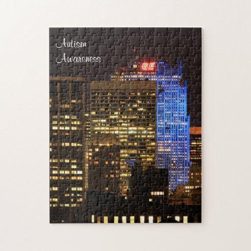 Rockefeller Center lit up blue for Autism 2012 Jigsaw Puzzle