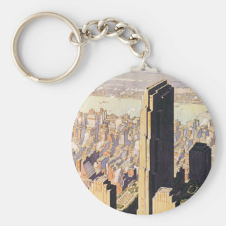 Rockefeller Center New York Basic Round Button Key Ring