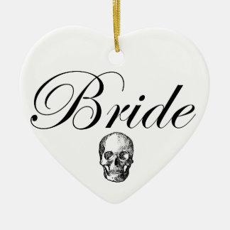 Rocker Bride Goth Skull Ceramic Heart Decoration