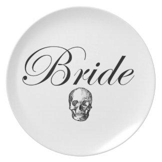 Rocker Bride Goth Skull Plate