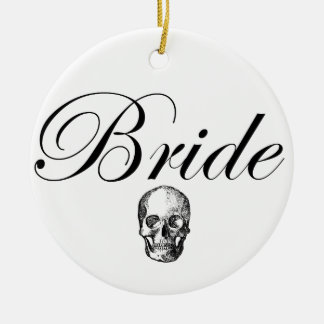 Rocker Bride Goth Skull Round Ceramic Decoration
