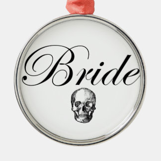 Rocker Bride Goth Skull Silver-Colored Round Decoration