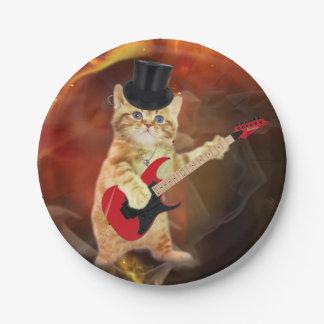 rocker cat in flames 7 inch paper plate