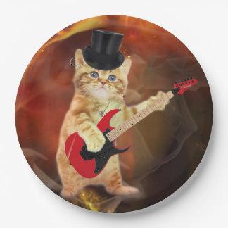 rocker cat in flames 9 inch paper plate