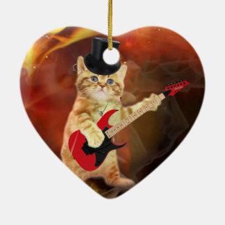 rocker cat in flames ceramic heart decoration