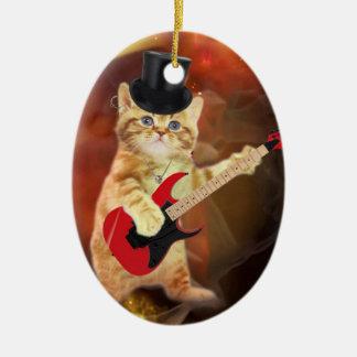 rocker cat in flames ceramic ornament