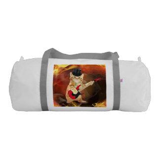rocker cat in flames gym duffel bag