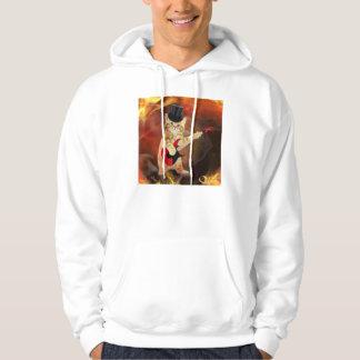 rocker cat in flames hoodie
