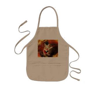 rocker cat in flames kids apron