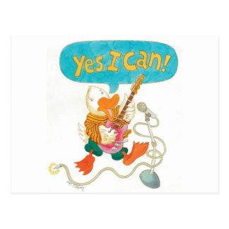 """rocker duck sings it loud """"YES I CAN!"""" Postcards"""