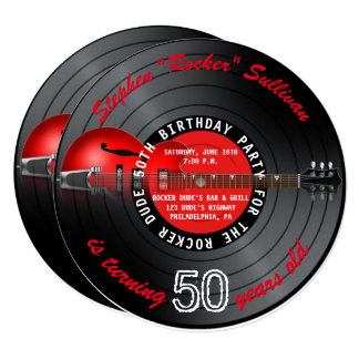 Rocker Dude Guitar Record 50th Birthday Party Card