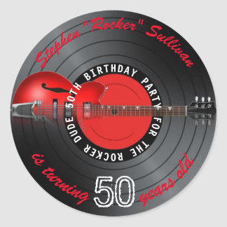 Rocker Dude Guitar Record 50th Birthday Party Classic Round Sticker