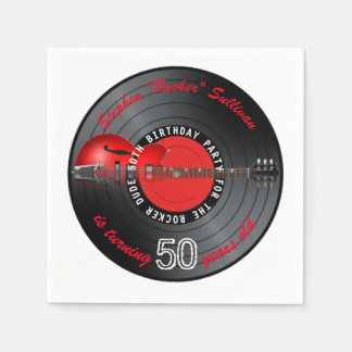 Rocker Dude Guitar Record 50th Birthday Party Disposable Serviette