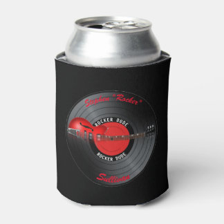 Rocker Dude Guitar Record Party Can Cooler