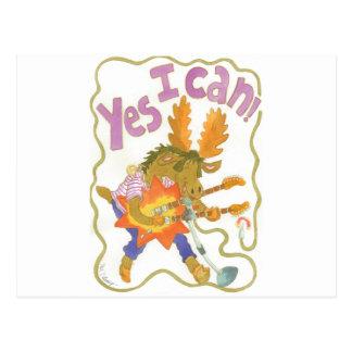 "rocker moose sings ""YES I CAN!"" Postcards"