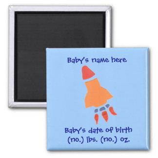 Rocket birth announcement keepsake square magnet