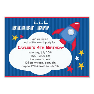 Rocket Birthday Invitation - Outer Space Invite