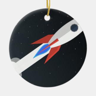 Rocket Blasting Off Ceramic Ornament