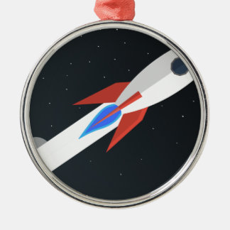 Rocket Blasting Off Metal Ornament