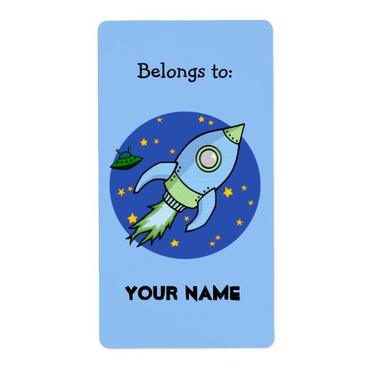 Rocket blue green Bookplate Label Shipping Label