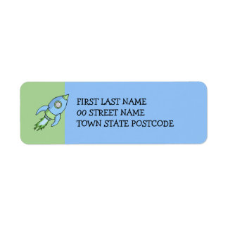 Rocket blue green Return Address Label