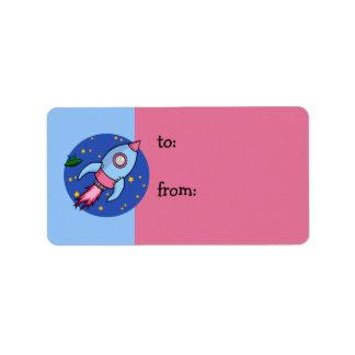 Rocket blue pink Gift Tag Address Label