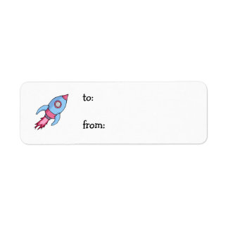 Rocket blue pink small Gift Tag Return Address Label