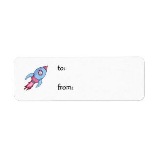 Rocket blue pink small Gift Tag Return Address Label