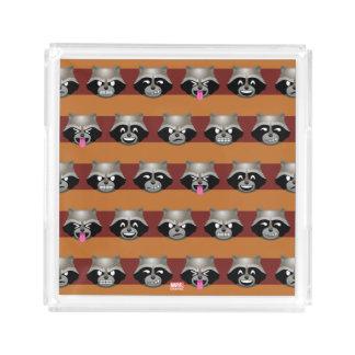 Rocket Emoji Stripe Pattern Acrylic Tray