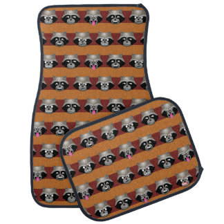 Rocket Emoji Stripe Pattern Car Mat