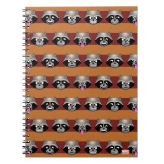 Rocket Emoji Stripe Pattern Notebook