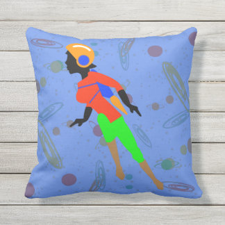 ROCKET GIRL IN SPACE by Jetpackcorps Throw Pillow