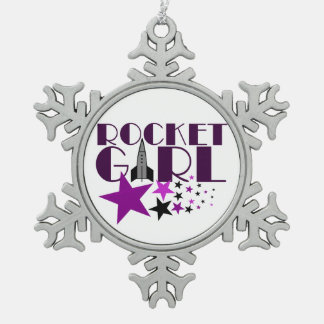 Rocket Girl Snowflake Pewter Christmas Ornament