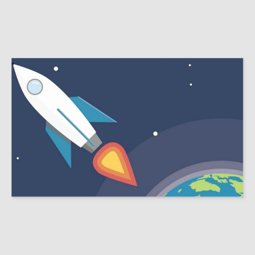 Rocket In Space Moon Earth Graphic Design Sticker