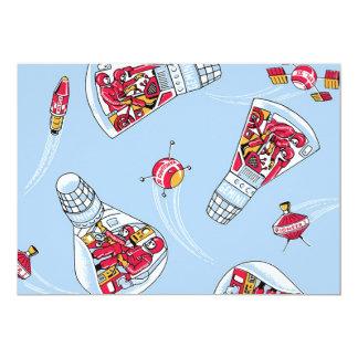 "Rocket Man Retro Gemini Rockets in Space Party 5"" X 7"" Invitation Card"
