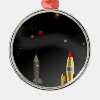 rocket metal ornament