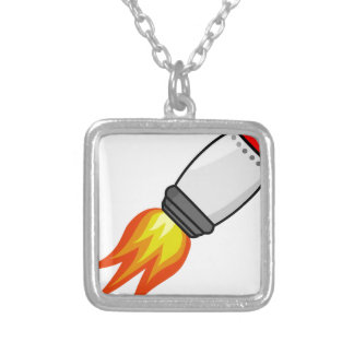 Rocket Missile Silver Plated Necklace