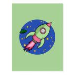 Rocket pink green Postcard