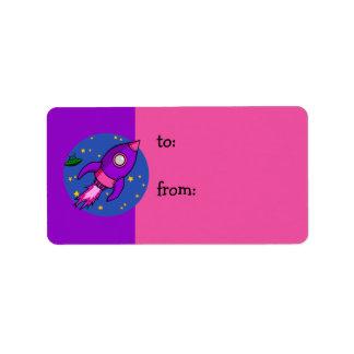 Rocket pink purple Gift Tag Address Label