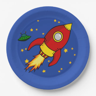 """Rocket red yellow 9"""" Paper Plate"""
