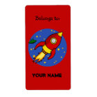 Rocket red yellow Bookplate Label