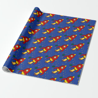 "Rocket red yellow Matte Wrapping Paper 30""x6'"