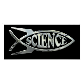 Rocket Science Evolve Fish in Silver Chrome Poster