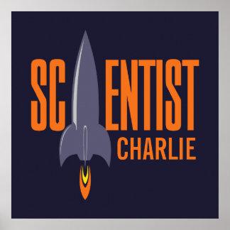Rocket Scientist custom name & color poster